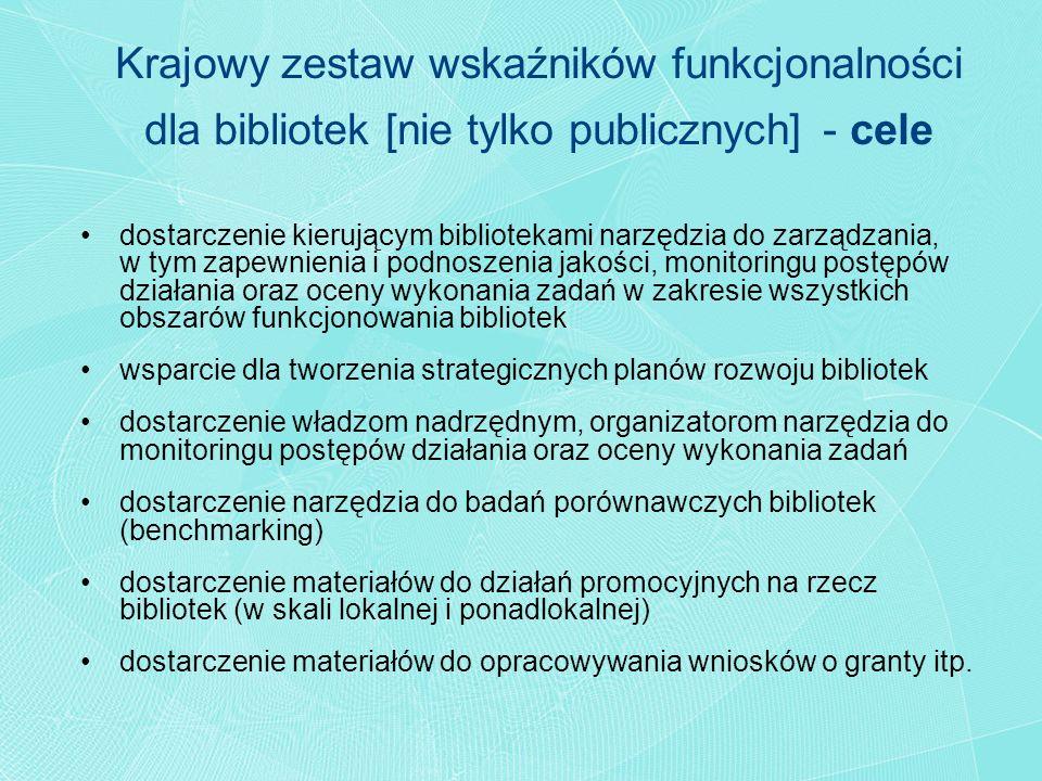 Krajowy zestaw wskaźników funkcjonalności dla bibliotek [nie tylko publicznych] - cele dostarczenie kierującym bibliotekami narzędzia do zarządzania,
