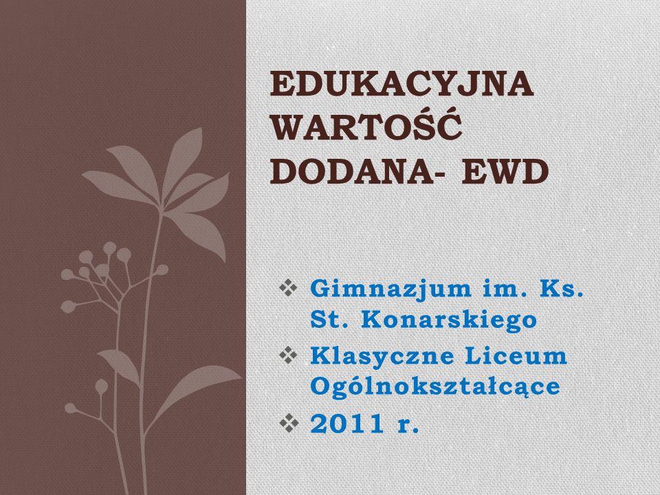 Gimnazjum im. Ks. St. Konarskiego Klasyczne Liceum Ogólnokształcące 2011 r. EDUKACYJNA WARTOŚĆ DODANA- EWD