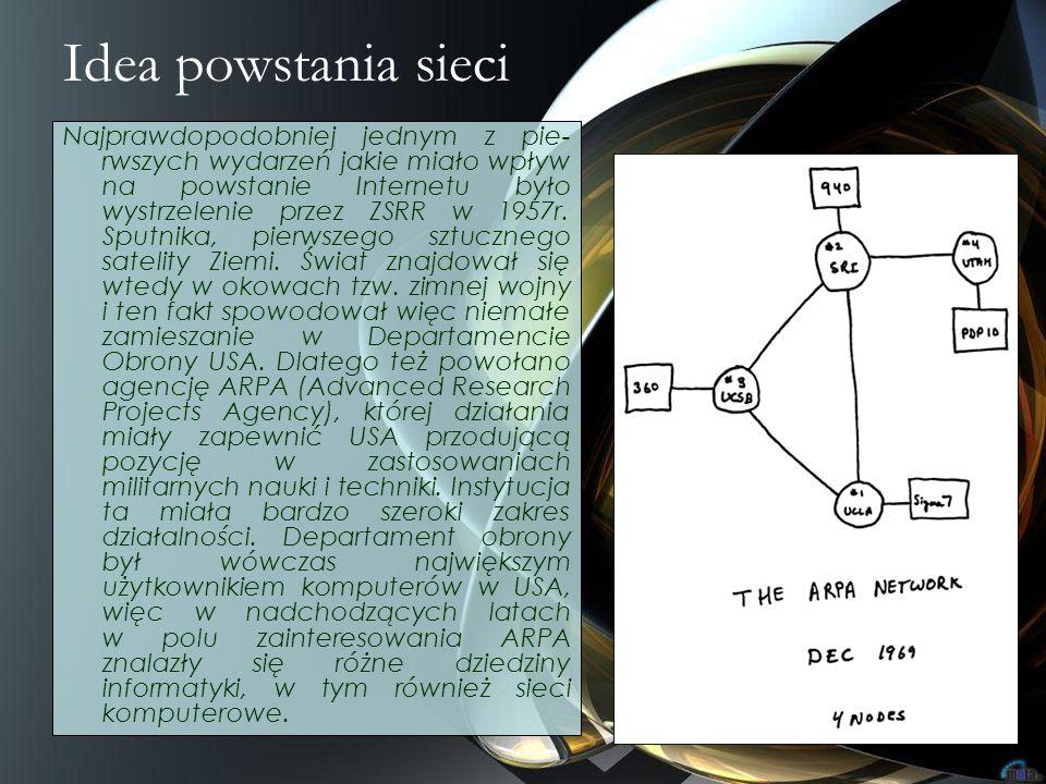 Idea powstania sieci Najprawdopodobniej jednym z pie- rwszych wydarzeń jakie miało wpływ na powstanie Internetu było wystrzelenie przez ZSRR w 1957r.