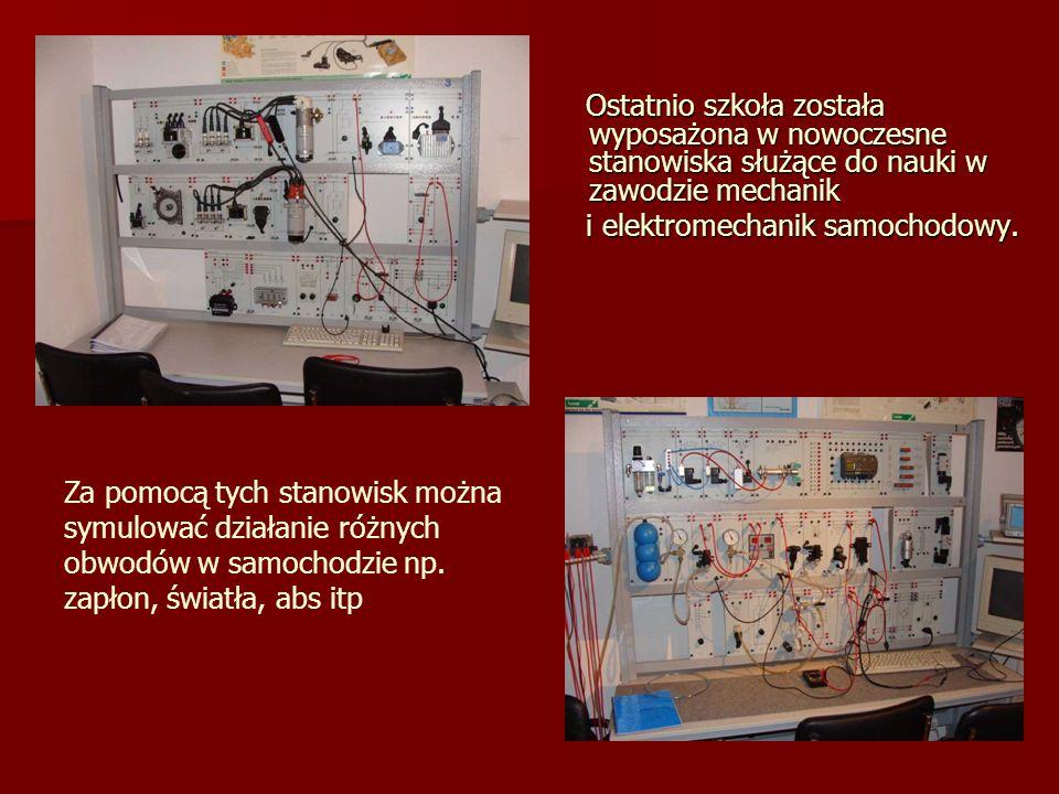 Ostatnio szkoła została wyposażona w nowoczesne stanowiska służące do nauki w zawodzie mechanik Ostatnio szkoła została wyposażona w nowoczesne stanowiska służące do nauki w zawodzie mechanik i elektromechanik samochodowy.