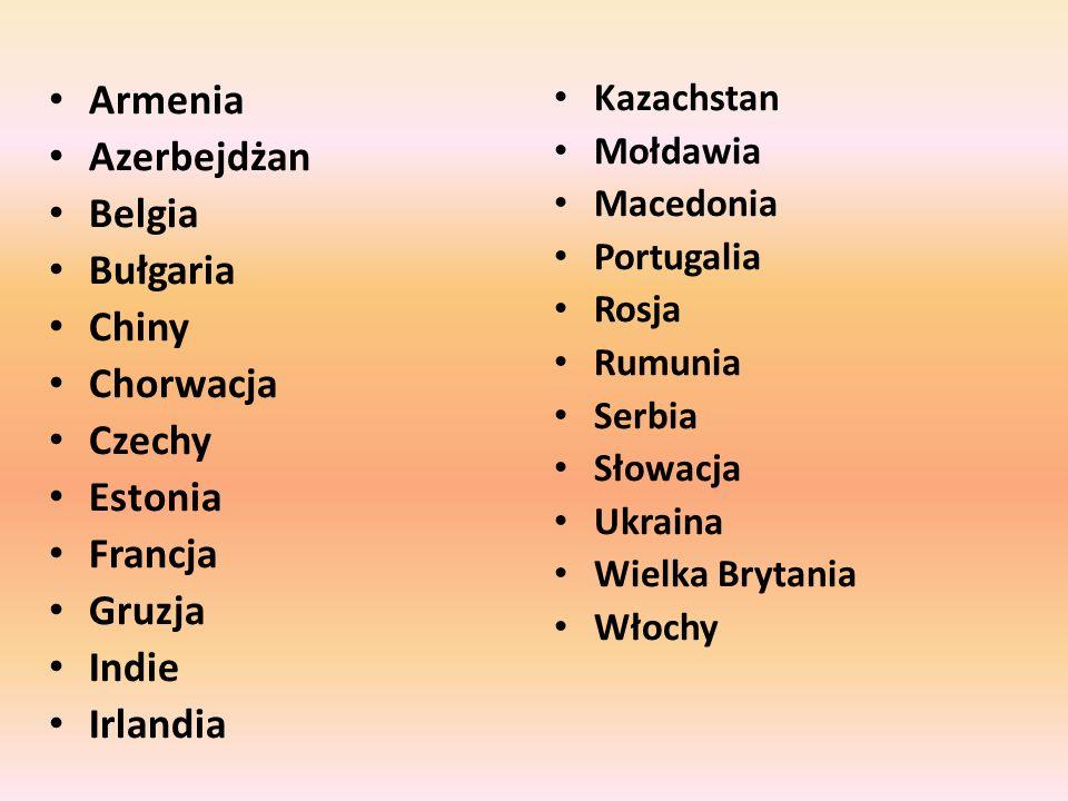 Armenia Azerbejdżan Belgia Bułgaria Chiny Chorwacja Czechy Estonia Francja Gruzja Indie Irlandia Kazachstan Mołdawia Macedonia Portugalia Rosja Rumuni