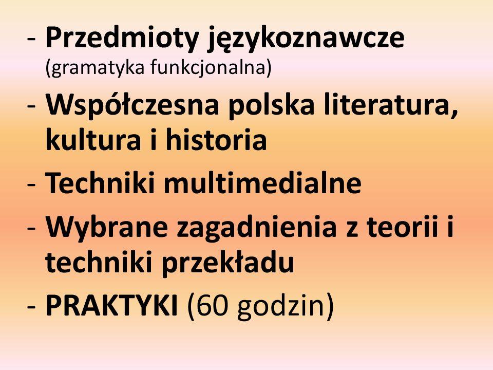 -Przedmioty językoznawcze (gramatyka funkcjonalna) -Współczesna polska literatura, kultura i historia -Techniki multimedialne -Wybrane zagadnienia z t