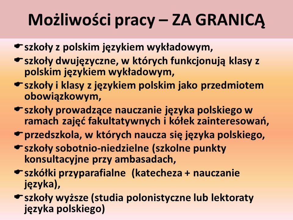 Możliwości pracy – ZA GRANICĄ szkoły z polskim językiem wykładowym, szkoły dwujęzyczne, w których funkcjonują klasy z polskim językiem wykładowym, szk