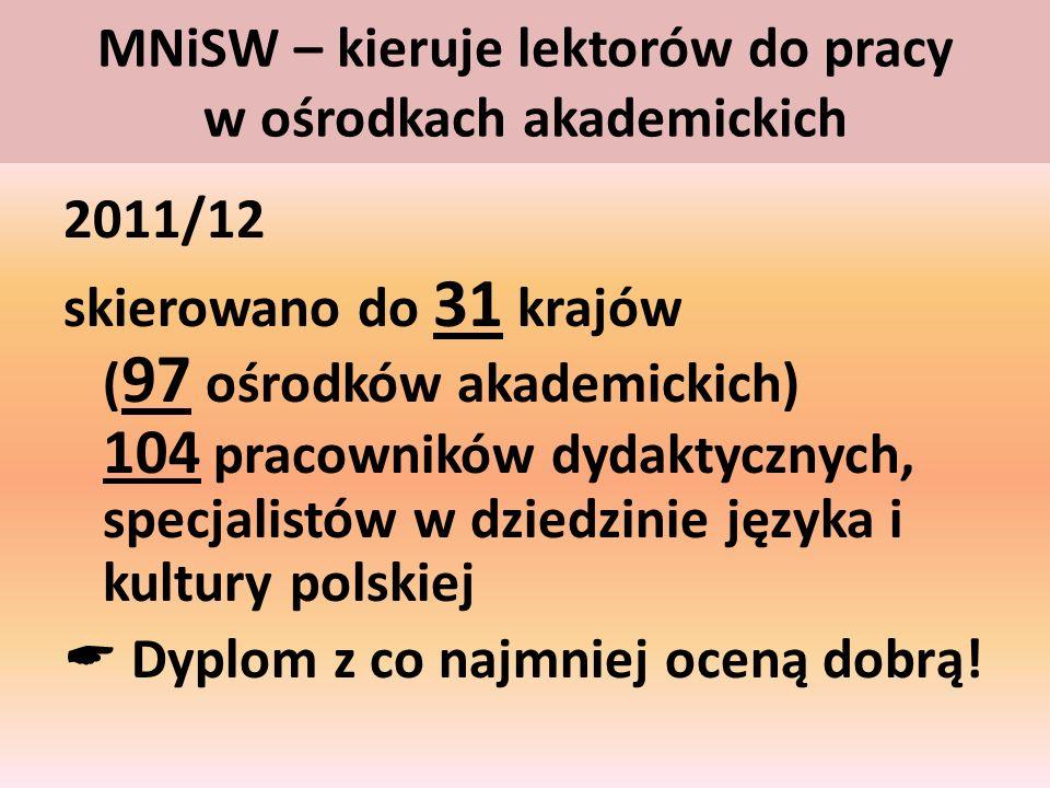 MNiSW – kieruje lektorów do pracy w ośrodkach akademickich 2011/12 skierowano do 31 krajów ( 97 ośrodków akademickich) 104 pracowników dydaktycznych,