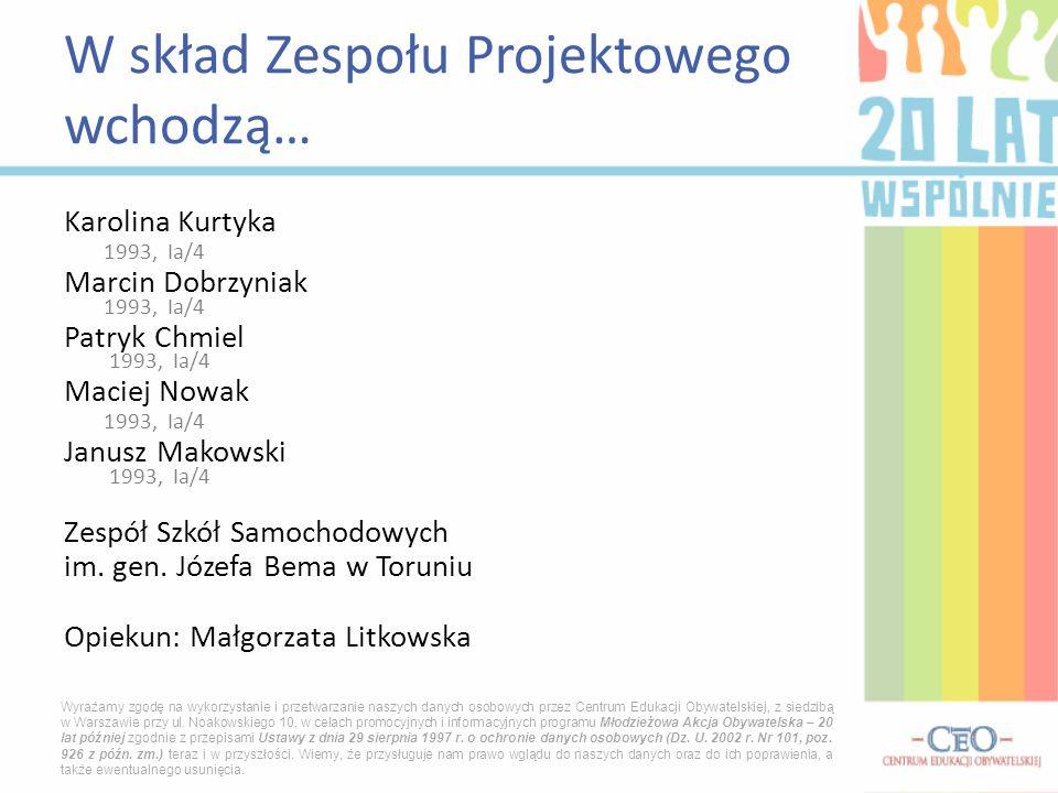 Karolina Kurtyka 1993, Ia/4 Marcin Dobrzyniak 1993, Ia/4 Patryk Chmiel 1993, Ia/4 Maciej Nowak 1993, Ia/4 Janusz Makowski 1993, Ia/4 Zespół Szkół Samo