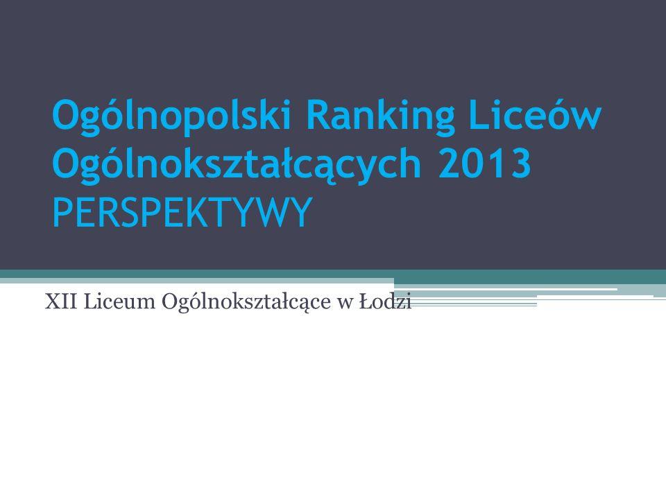 Ogólnopolski Ranking Liceów Ogólnokształcących 2013 PERSPEKTYWY XII Liceum Ogólnokształcące w Łodzi