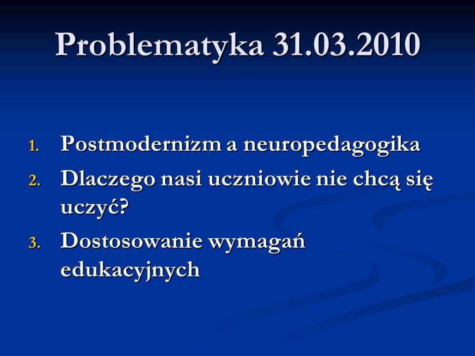 Problematyka 31.03.2010 1. Postmodernizm a neuropedagogika 2. Dlaczego nasi uczniowie nie chcą się uczyć? 3. Dostosowanie wymagań edukacyjnych