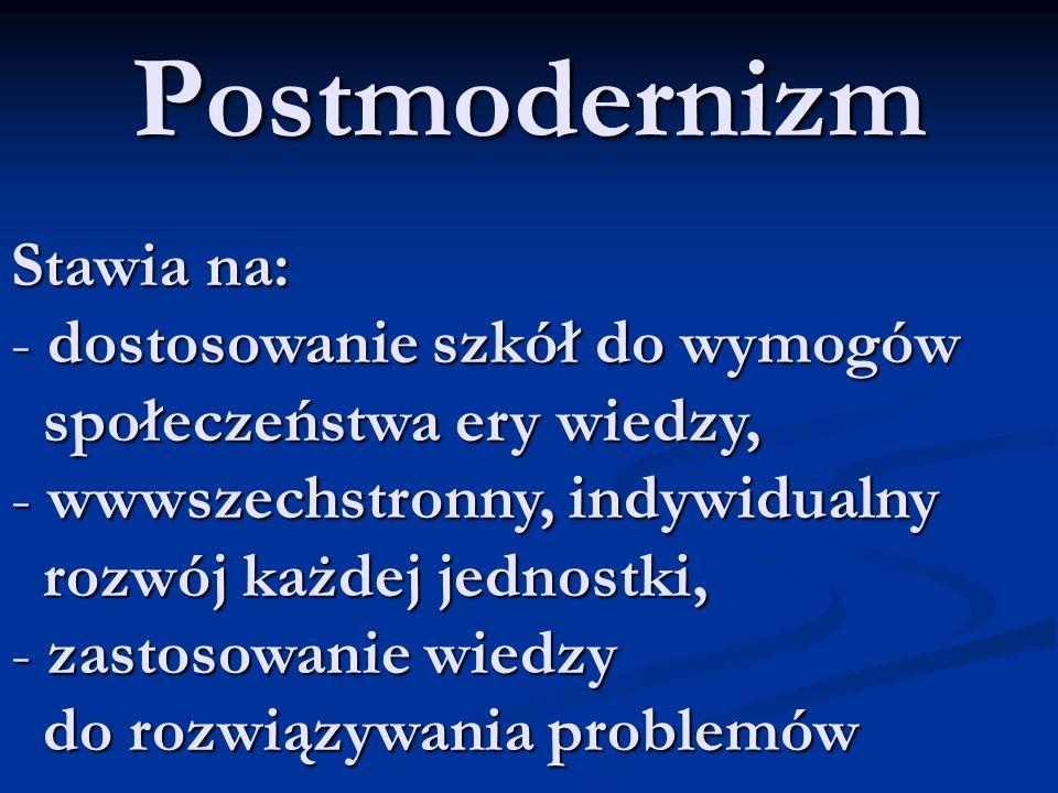 Postmodernizm Stawia na: - dostosowanie szkół do wymogów społeczeństwa ery wiedzy, społeczeństwa ery wiedzy, - wwwszechstronny, indywidualny rozwój każdej jednostki, rozwój każdej jednostki, - zastosowanie wiedzy do rozwiązywania problemów do rozwiązywania problemów