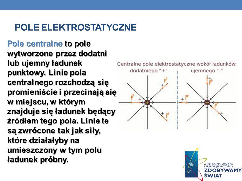 POLE ELEKTROSTATYCZNE Pole centralne to pole wytworzone przez dodatni lub ujemny ładunek punktowy.