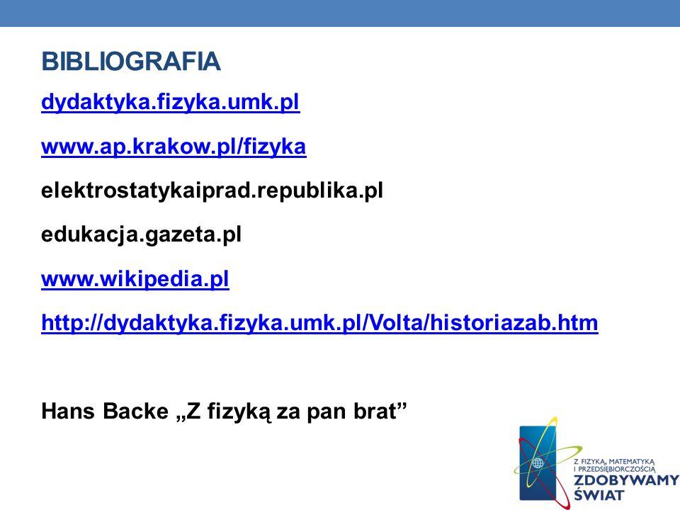 BIBLIOGRAFIA dydaktyka.fizyka.umk.pl www.ap.krakow.pl/fizyka elektrostatykaiprad.republika.pl edukacja.gazeta.pl www.wikipedia.pl http://dydaktyka.fizyka.umk.pl/Volta/historiazab.htm Hans Backe Z fizyką za pan brat