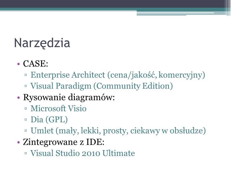 Narzędzia CASE: Enterprise Architect (cena/jakość, komercyjny) Visual Paradigm (Community Edition) Rysowanie diagramów: Microsoft Visio Dia (GPL) Umle