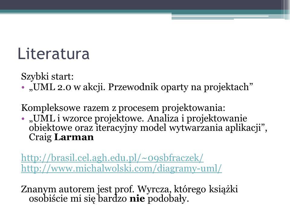 Literatura Szybki start: UML 2.0 w akcji. Przewodnik oparty na projektach Kompleksowe razem z procesem projektowania: UML i wzorce projektowe. Analiza