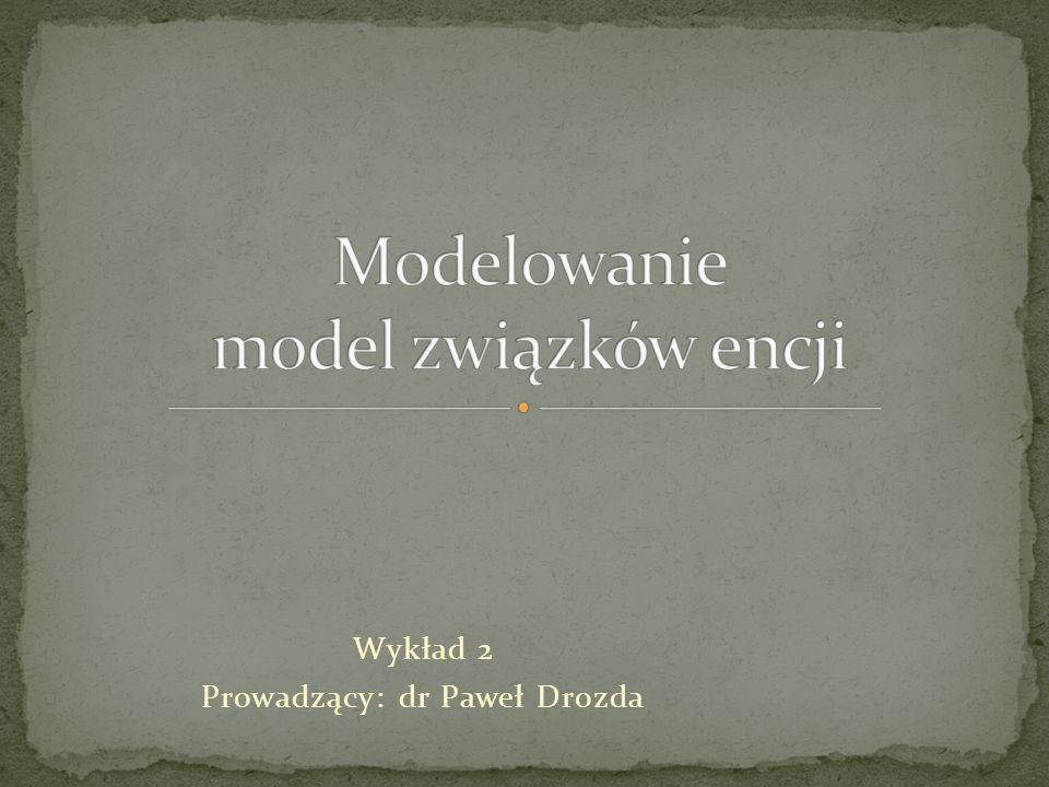 Odwzorowanie obiektów rzeczywistych w systemie informatycznym Dwa typy modeli: Konceptualny Model związków encji Model UML Implementacyjny Relacyjny Obiektowy Obiektowo-relacyjny dr Paweł Drozda