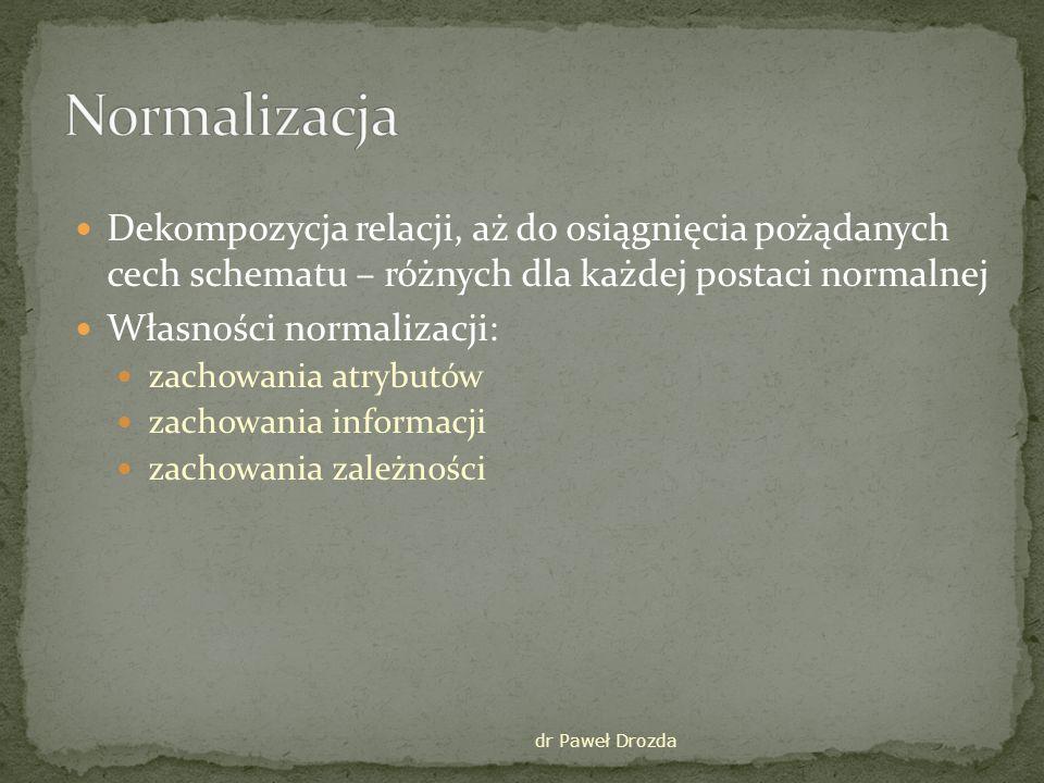 dr Paweł Drozda Definicja – relacja jest w postaci normalnej Boycea – Codda wtw gdy dla każdej zależności nietrywialnej A 1,…,A n B zbiór {A 1,…,A n } jest nadkluczem tej relacji