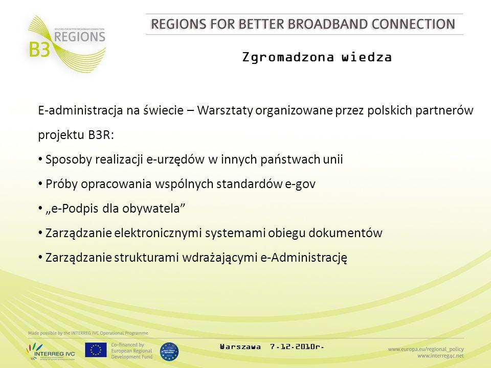 Zgromadzona wiedza E-administracja na świecie – Warsztaty organizowane przez polskich partnerów projektu B3R: Sposoby realizacji e-urzędów w innych pa