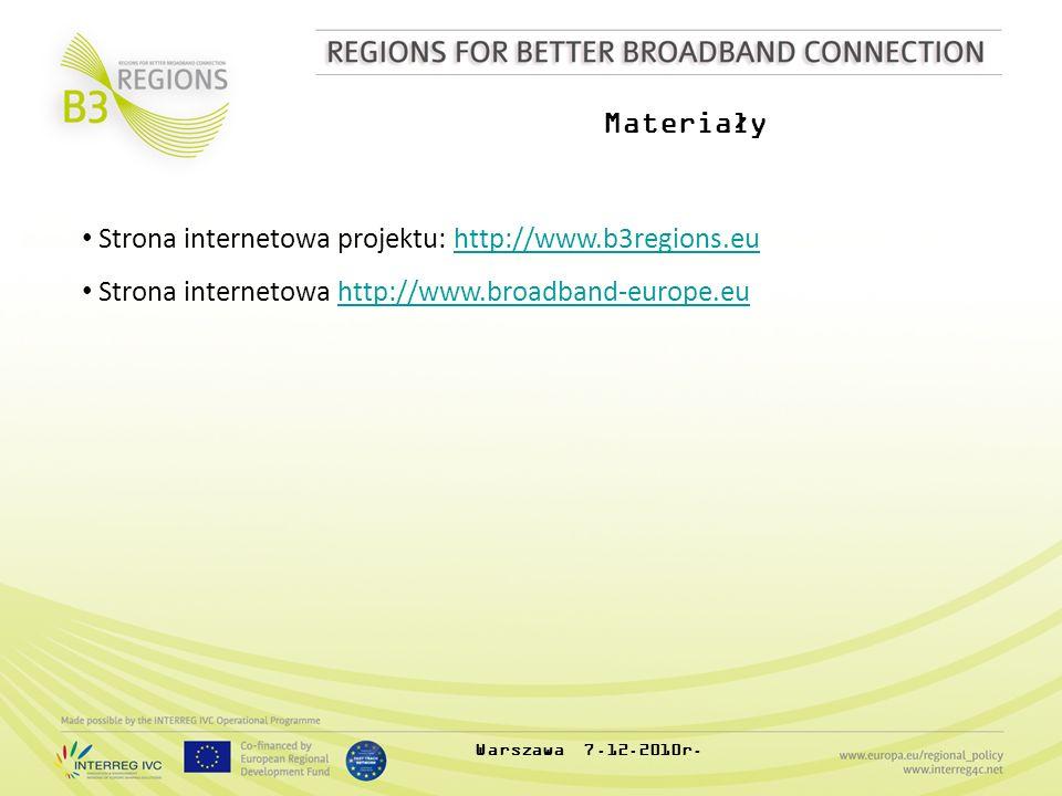 Materiały Strona internetowa projektu: http://www.b3regions.euhttp://www.b3regions.eu Strona internetowa http://www.broadband-europe.euhttp://www.broa