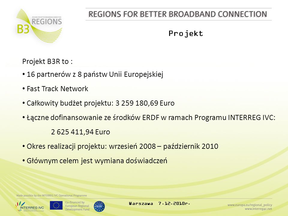 Projekt Projekt B3R to : 16 partnerów z 8 państw Unii Europejskiej Fast Track Network Całkowity budżet projektu: 3 259 180,69 Euro Łączne dofinansowan
