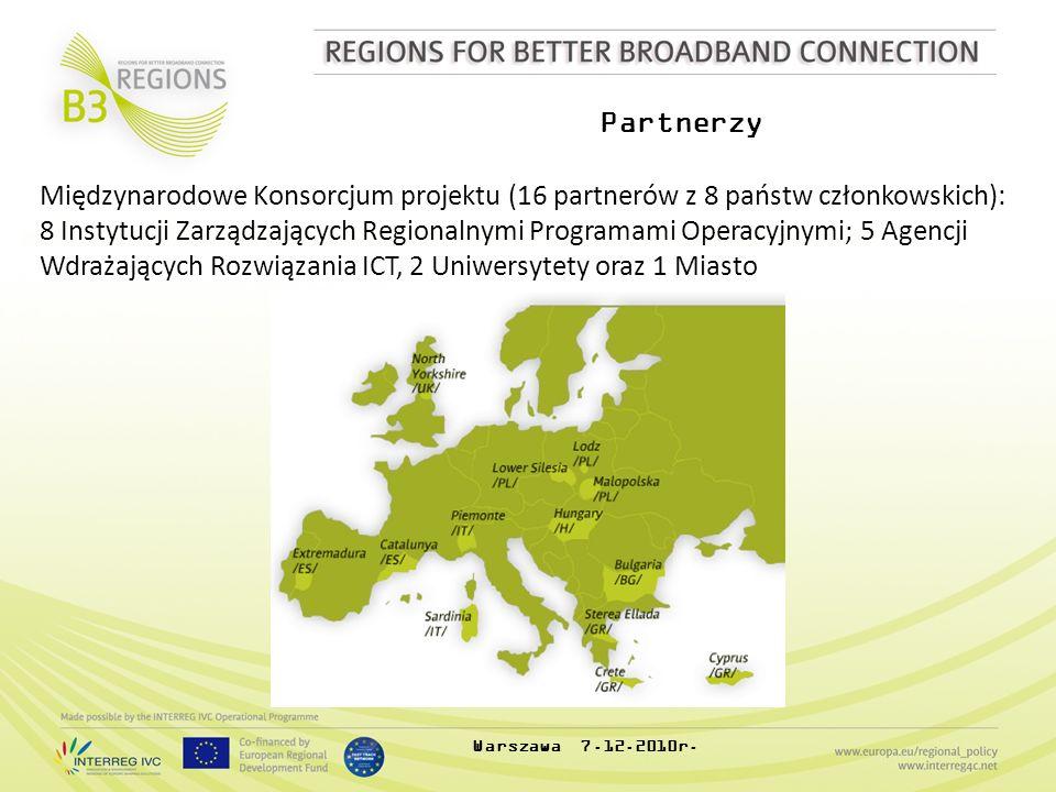 Partnerzy Międzynarodowe Konsorcjum projektu (16 partnerów z 8 państw członkowskich): 8 Instytucji Zarządzających Regionalnymi Programami Operacyjnymi; 5 Agencji Wdrażających Rozwiązania ICT, 2 Uniwersytety oraz 1 Miasto Warszawa 7.12.2010r.