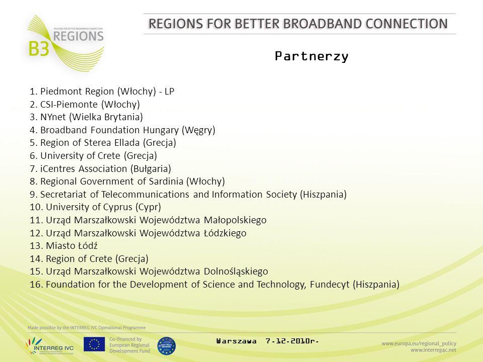 Partnerzy Warszawa 7.12.2010r. 1. Piedmont Region (Włochy) - LP 2. CSI-Piemonte (Włochy) 3. NYnet (Wielka Brytania) 4. Broadband Foundation Hungary (W