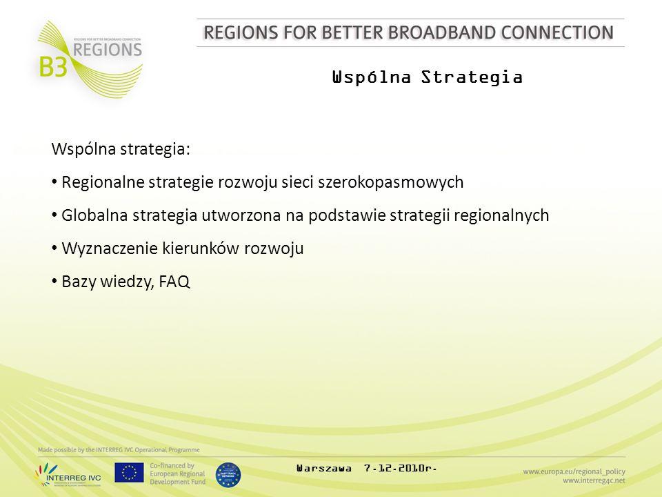 Wspólna Strategia Wspólna strategia: Regionalne strategie rozwoju sieci szerokopasmowych Globalna strategia utworzona na podstawie strategii regionalnych Wyznaczenie kierunków rozwoju Bazy wiedzy, FAQ Warszawa 7.12.2010r.