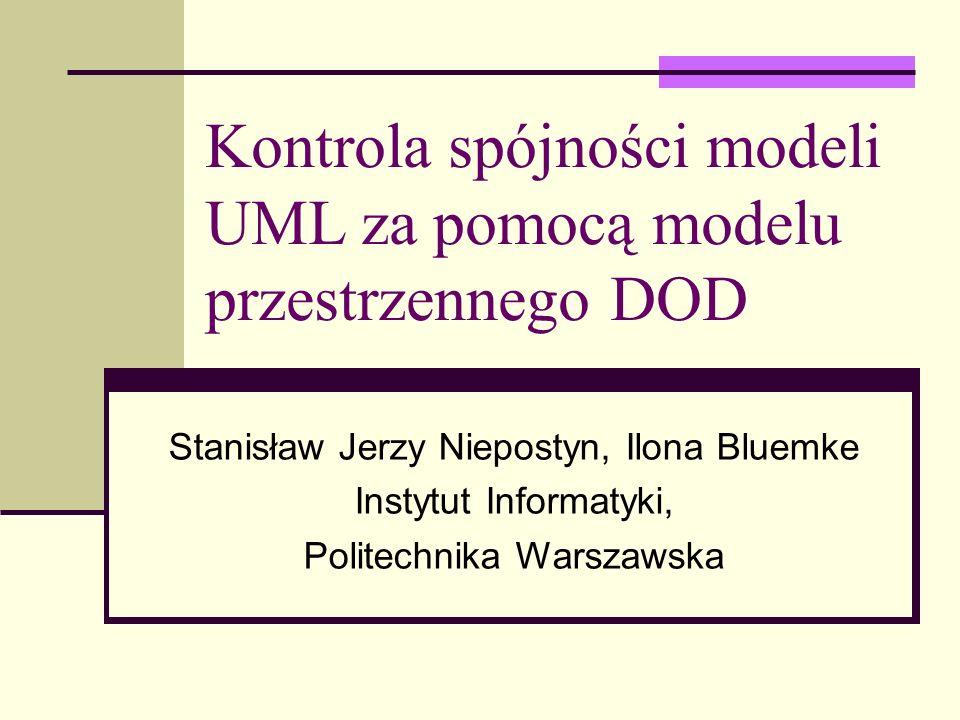 2 Wprowadzenie Obecne metody kontroli spójności modeli UML: badanie pokrywania się modeli UML, identyfikacja i usuwanie niespójności pomiędzy modelami UML Propozycja kontroli spójności modeli UML: kontrola spójności modeli UML poprzez transformacje do/ze spójnego i kompletnego modelu DOD.