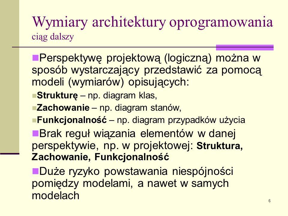 6 Perspektywę projektową (logiczną) można w sposób wystarczający przedstawić za pomocą modeli (wymiarów) opisujących: Strukturę – np. diagram klas, Za