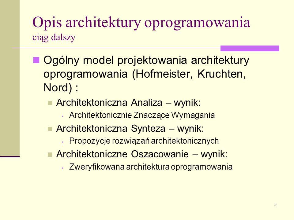 5 Opis architektury oprogramowania ciąg dalszy Ogólny model projektowania architektury oprogramowania (Hofmeister, Kruchten, Nord) : Architektoniczna