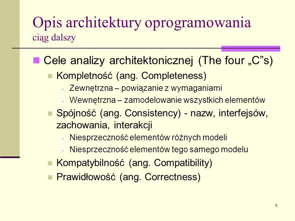 6 Opis architektury oprogramowania ciąg dalszy Cele analizy architektonicznej (The four Cs) Kompletność (ang. Completeness) Zewnętrzna – powiązanie z