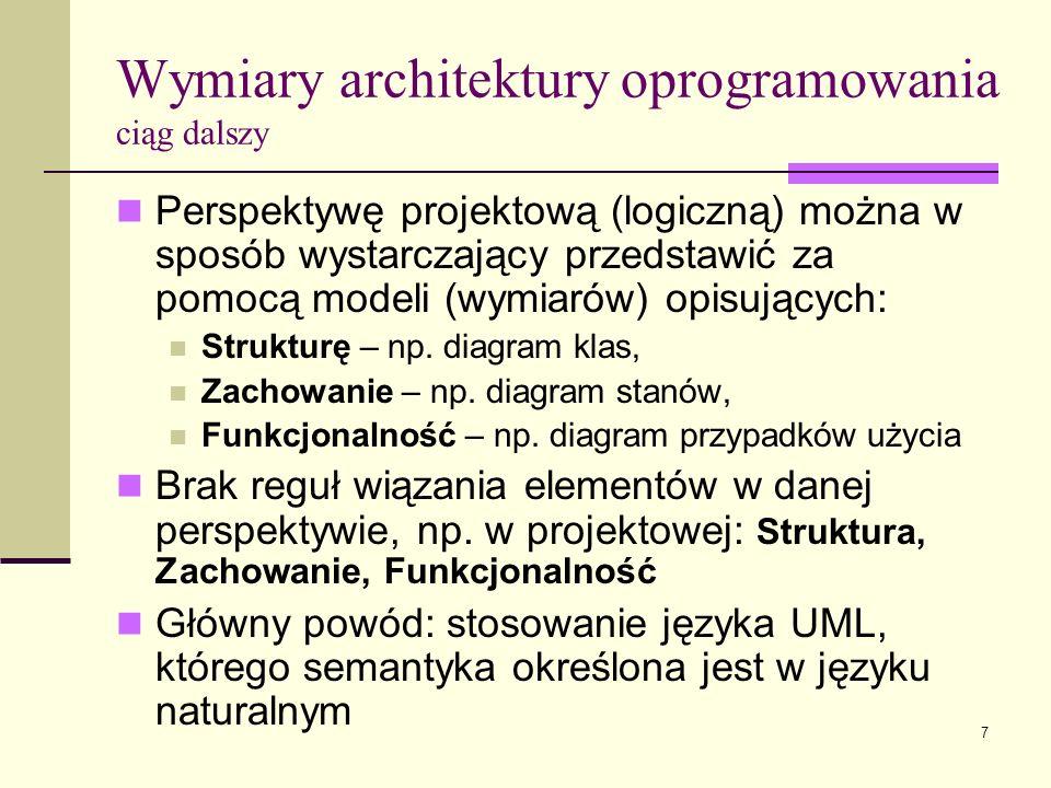 7 Perspektywę projektową (logiczną) można w sposób wystarczający przedstawić za pomocą modeli (wymiarów) opisujących: Strukturę – np. diagram klas, Za