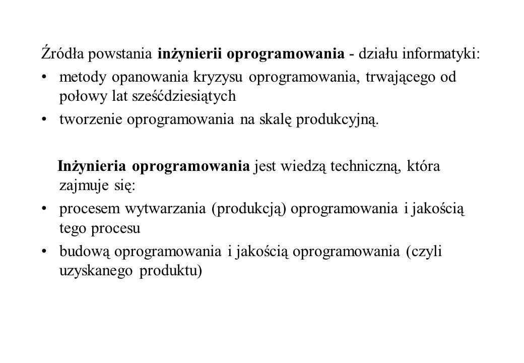 Źródła powstania inżynierii oprogramowania - działu informatyki: metody opanowania kryzysu oprogramowania, trwającego od połowy lat sześćdziesiątych t