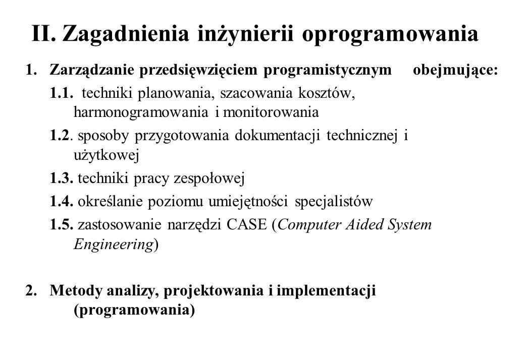II. Zagadnienia inżynierii oprogramowania 1. Zarządzanie przedsięwzięciem programistycznym obejmujące: 1.1. techniki planowania, szacowania kosztów, h