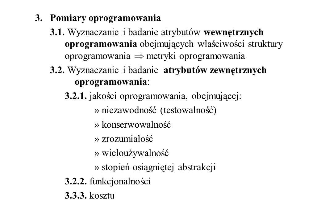 3. Pomiary oprogramowania 3.1. Wyznaczanie i badanie atrybutów wewnętrznych oprogramowania obejmujących właściwości struktury oprogramowania metryki o