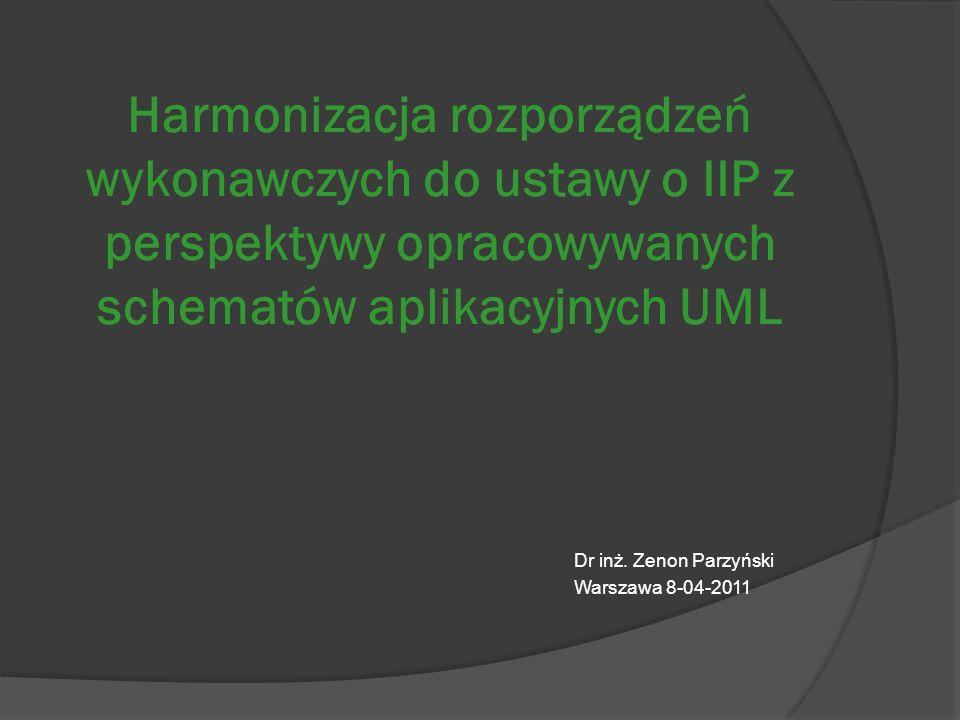 Harmonizacja rozporządzeń wykonawczych do ustawy o IIP z perspektywy opracowywanych schematów aplikacyjnych UML Dr inż.