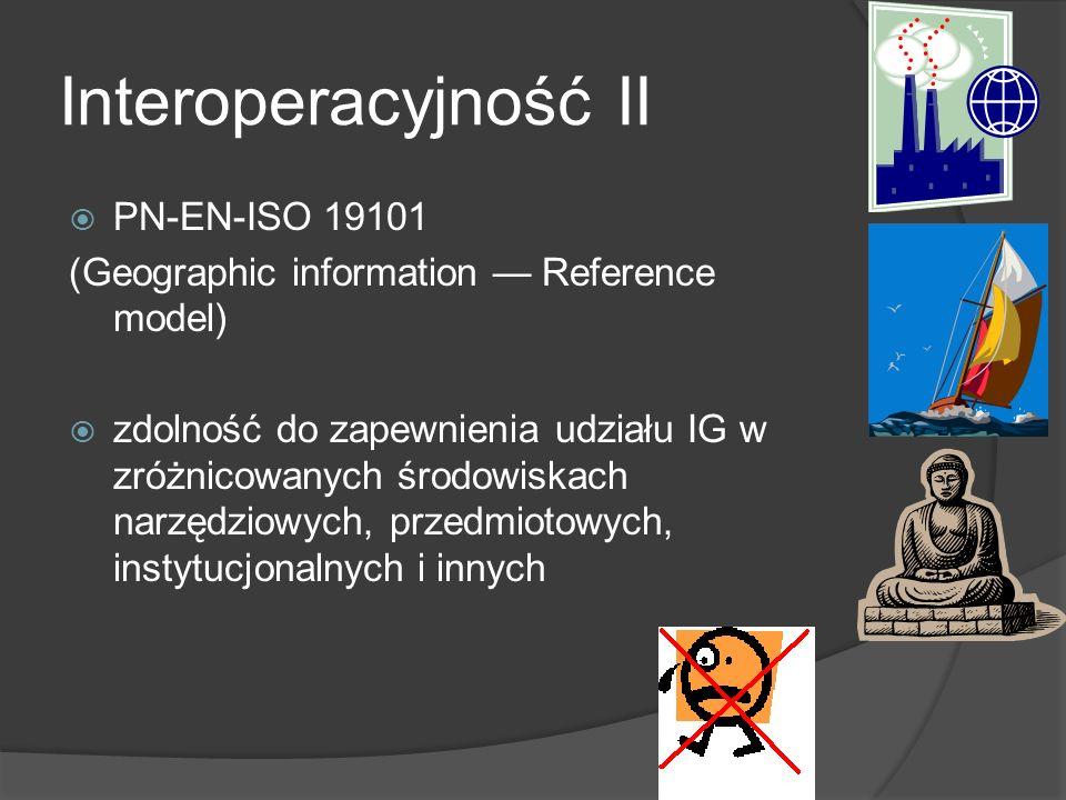 Interoperacyjność II PN-EN-ISO 19101 (Geographic information Reference model) zdolność do zapewnienia udziału IG w zróżnicowanych środowiskach narzędziowych, przedmiotowych, instytucjonalnych i innych