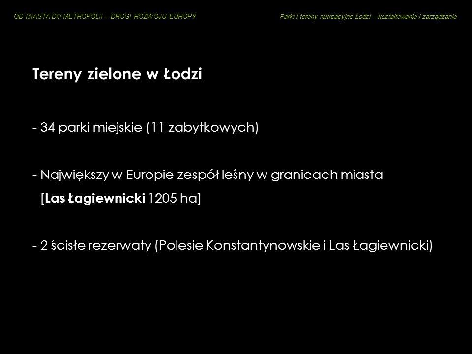 OD MIASTA DO METROPOLII – DROGI ROZWOJU EUROPY Parki i tereny rekreacyjne Łodzi – kształtowanie i zarządzanie tzw. Zielony Krąg Tradycji i Kultury