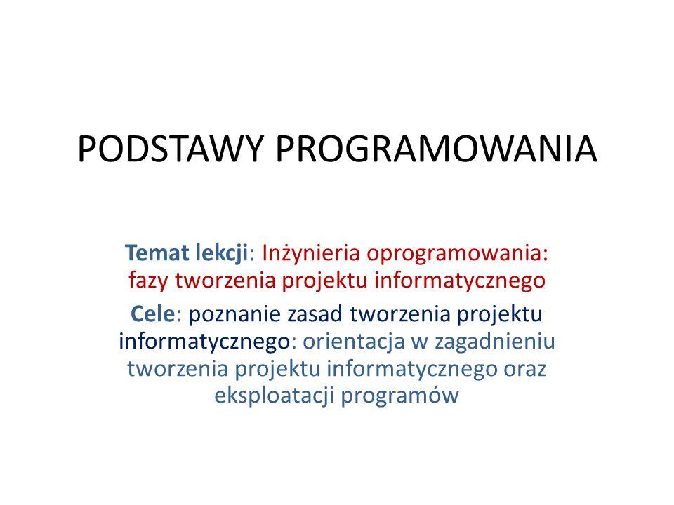 Fazy tworzenia projektu informatycznego: zdefiniowanie problemu, określenie planu działania, zaprojektowanie metod rozwiązania, implementacja projektu - wybór gotowego oprogramowania lub zaprogramowanie w odpowiednio wybranym języku (systemie) oprogramowania, przetestowanie i analiza poprawności działania programu, opracowanie dokumentacji.
