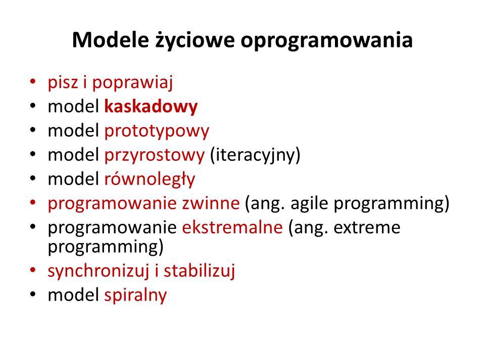 Modele życiowe oprogramowania pisz i poprawiaj model kaskadowy model prototypowy model przyrostowy (iteracyjny) model równoległy programowanie zwinne