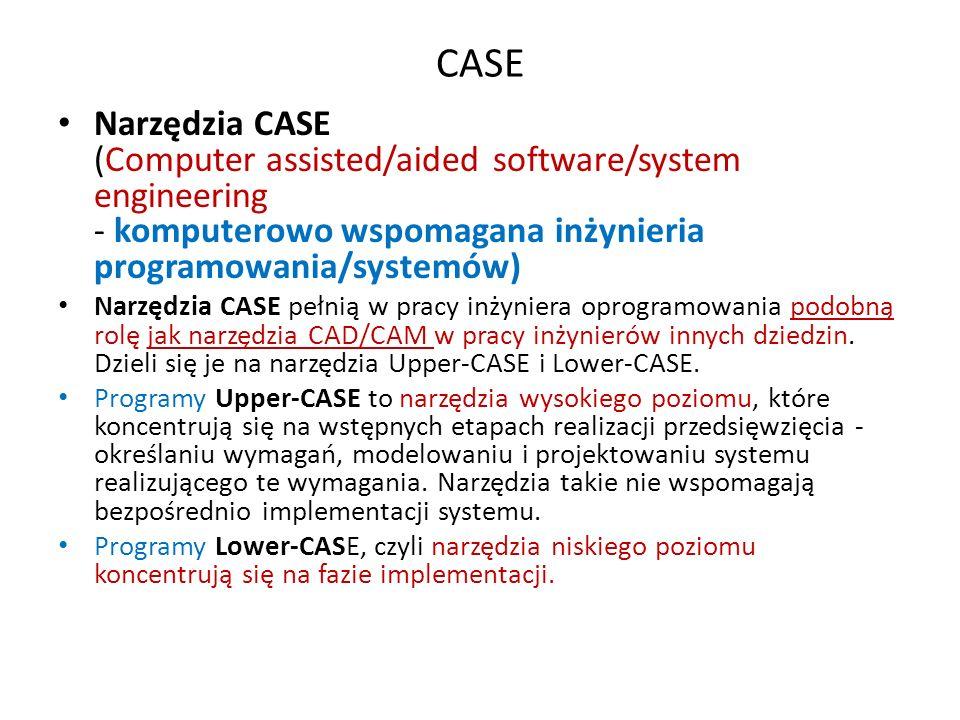 CASE Narzędzia CASE (Computer assisted/aided software/system engineering - komputerowo wspomagana inżynieria programowania/systemów) Narzędzia CASE pe