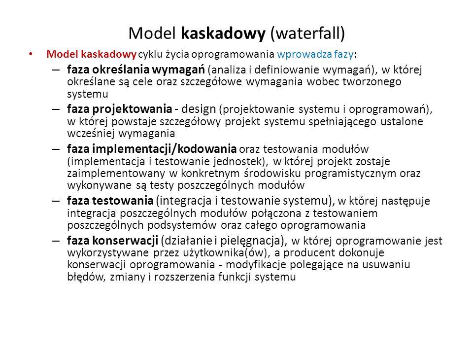 Model kaskadowy (waterfall) Model kaskadowy cyklu życia oprogramowania wprowadza fazy: – faza określania wymagań (analiza i definiowanie wymagań), w k