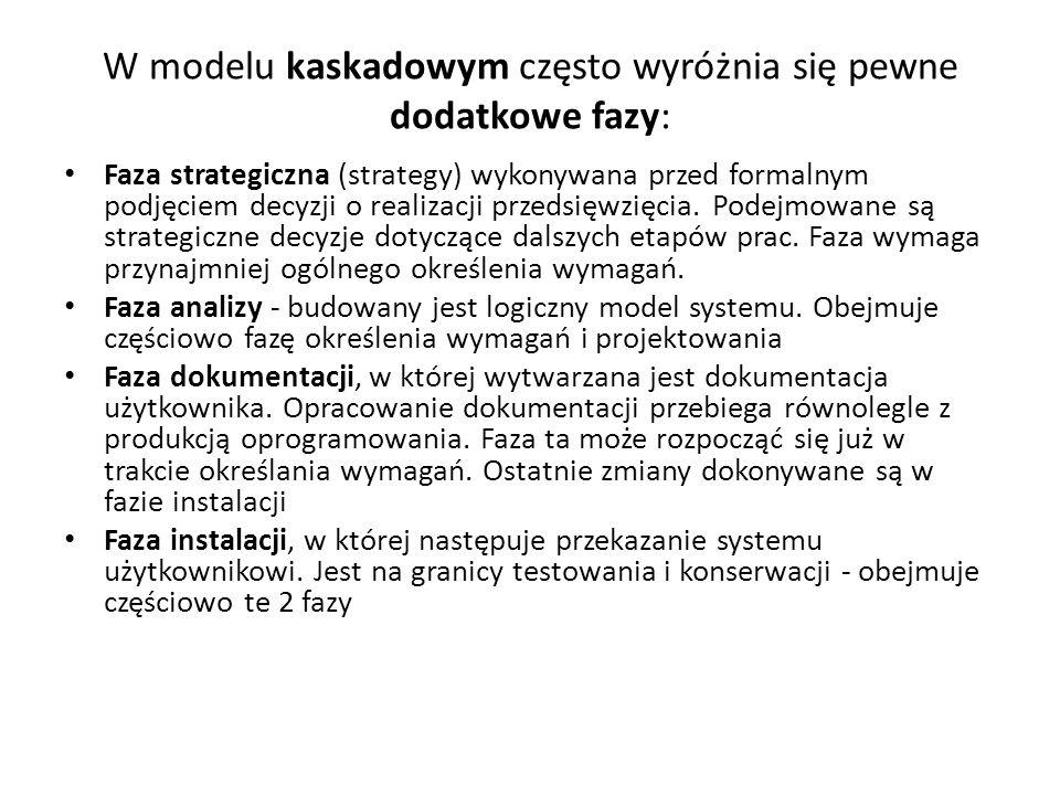 W modelu kaskadowym często wyróżnia się pewne dodatkowe fazy: Faza strategiczna (strategy) wykonywana przed formalnym podjęciem decyzji o realizacji p