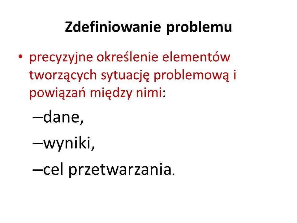 Zdefiniowanie problemu precyzyjne określenie elementów tworzących sytuację problemową i powiązań między nimi: – dane, – wyniki, – cel przetwarzania.