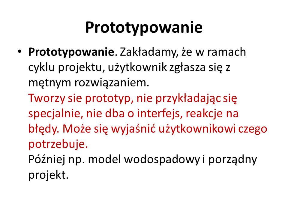 Prototypowanie Prototypowanie. Zakładamy, że w ramach cyklu projektu, użytkownik zgłasza się z mętnym rozwiązaniem. Tworzy sie prototyp, nie przykłada