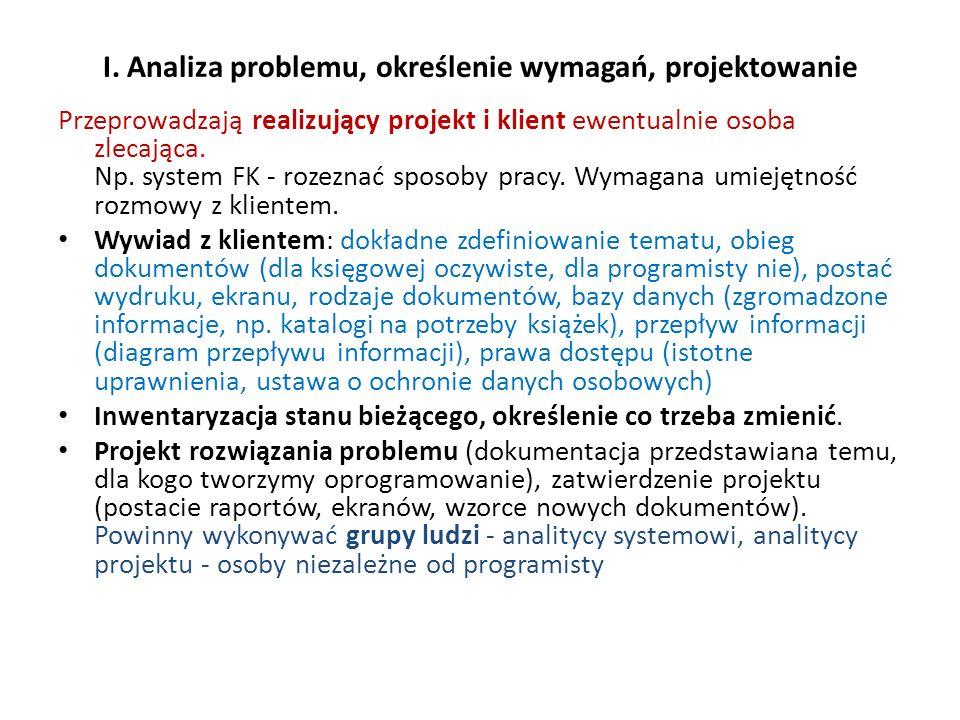 I. Analiza problemu, określenie wymagań, projektowanie Przeprowadzają realizujący projekt i klient ewentualnie osoba zlecająca. Np. system FK - rozezn