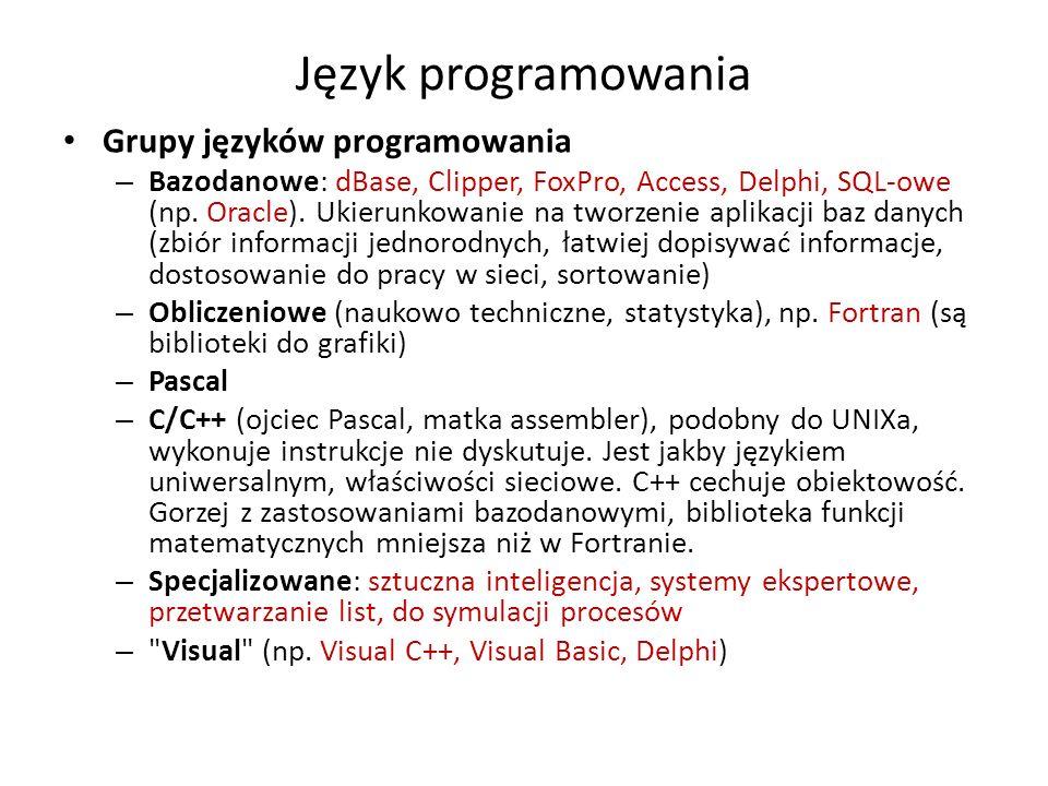 Język programowania Grupy języków programowania – Bazodanowe: dBase, Clipper, FoxPro, Access, Delphi, SQL-owe (np. Oracle). Ukierunkowanie na tworzeni