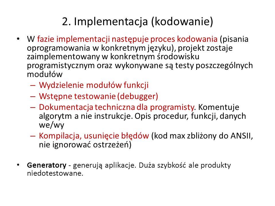 2. Implementacja (kodowanie) W fazie implementacji następuje proces kodowania (pisania oprogramowania w konkretnym języku), projekt zostaje zaimplemen