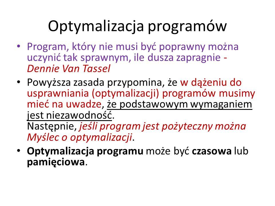 Optymalizacja programów Program, który nie musi być poprawny można uczynić tak sprawnym, ile dusza zapragnie - Dennie Van Tassel Powyższa zasada przyp