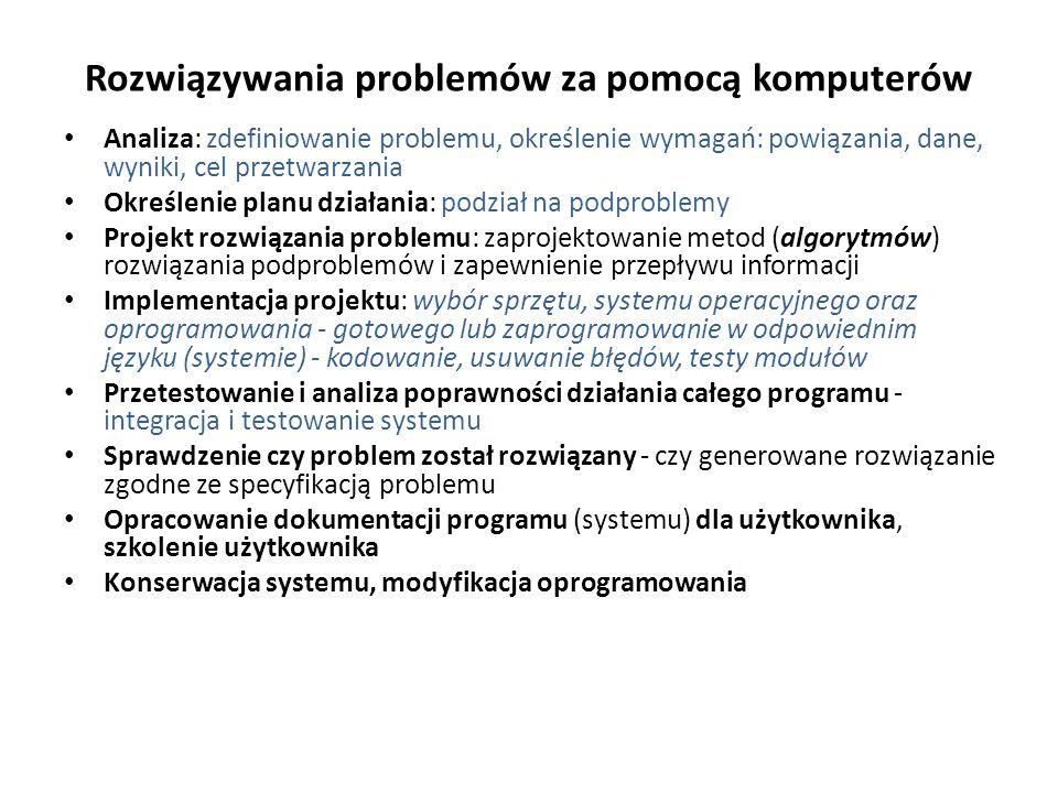 Rozwiązywania problemów za pomocą komputerów Analiza: zdefiniowanie problemu, określenie wymagań: powiązania, dane, wyniki, cel przetwarzania Określen