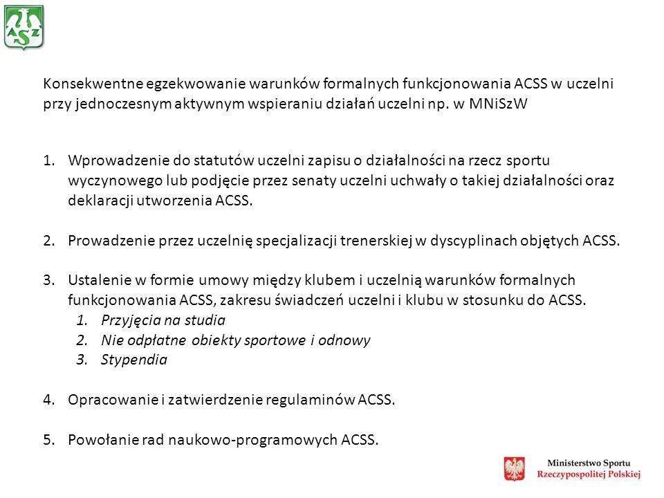 Konsekwentne egzekwowanie warunków formalnych funkcjonowania ACSS w uczelni przy jednoczesnym aktywnym wspieraniu działań uczelni np.