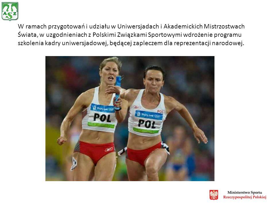 W ramach przygotowań i udziału w Uniwersjadach i Akademickich Mistrzostwach Świata, w uzgodnieniach z Polskimi Związkami Sportowymi wdrożenie programu szkolenia kadry uniwersjadowej, będącej zapleczem dla reprezentacji narodowej.