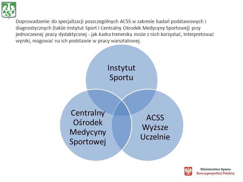 Doprowadzenie do specjalizacji poszczególnych ACSS w zakresie badań podstawowych i diagnostycznych (także Instytut Sport i Centralny Ośrodek Medycyny Sportowej) przy jednoczesnej pracy dydaktycznej - jak kadra trenerska może z nich korzystać, interpretować wyniki, reagować na ich podstawie w pracy warsztatowej.